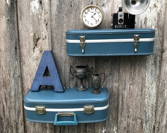 Pair of Wall Shelves Made from a Vintage Blue Suitcase Luggage Shelf  Travel Inspired