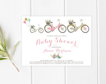 Baby Shower Invitation, Bicycle Baby Shower Invitation, Girl Baby Shower Invitation, Baby Shower Invitation, Vintage Bicycle, Custom [215]