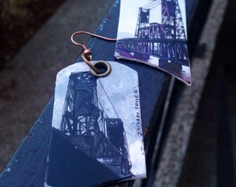 Steel Bridge - pdx hand-painted earrings - Portland, Oregon