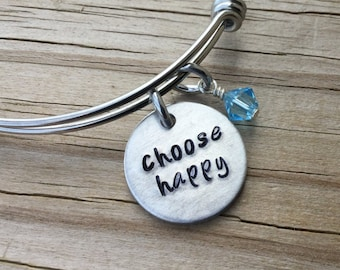 "Happiness Inspiration Bracelet- Hand-Stamped ""choose happy"" Bracelet with an accent bead in your choice of colors- Hand-Stamped Jewelry"