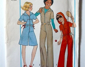 Vintage Sewing Pattern Girls 70's Uncut, Simplicity 8093, Hooded Jumpsuit, Pantdress (Size 7/8)