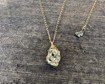 Wire-wrapped Pyrite Necklace