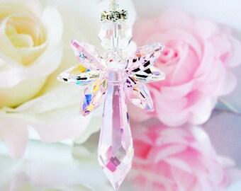 Crystal Suncatcher, Pink Guardian Angel Sun Catcher, Little Girls Room, Nursery Decor, Swarovski Angel Suncatcher