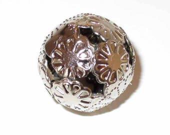 1 Pearl Filigree Silver Flower 16mm - MR03