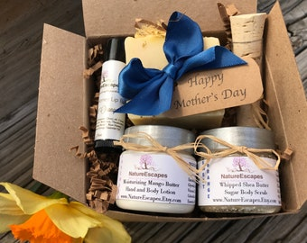 Mother's Day Gift Idea for Mom, Spa Gift Set, Natural Spa Bath Set, Soap Gift Set with Soap, Lotion, Sugar Scrub and Lip Balm