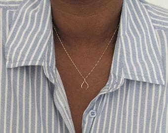 Wishbone Pendant, minimalist necklace, layering necklace