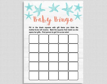 Baby Bingo Shower Game, Aqua and Coral Beach Baby Shower Game, Nautical, DIY Printable, Gender Neutral, INSTANT DOWNLOAD
