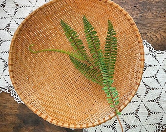 A Tisket A Tasket... Vintage Bamboo Hand Woven Winnowing Basket Boho Bohemian Style Farmhouse Decor Storage Bowl