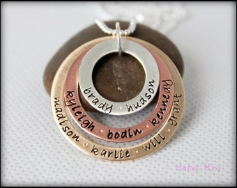 Hand Stamped Family Necklace, Mixed Metal Necklace, Layered Necklace, Grandma Necklace, Stacked Necklace, Gold Silver Copper, Mama Mia
