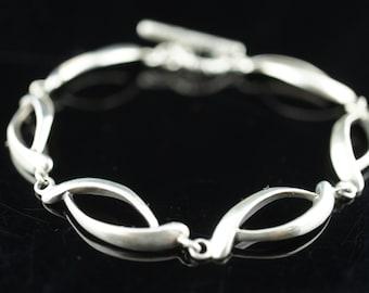 Vintage Art Deco bracelet  Sterling Silver 925  chain heavy links Modern Design  Deco   d220