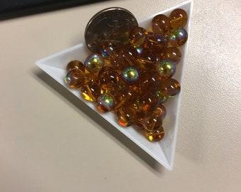 Brown acrylic 8mm AB beads