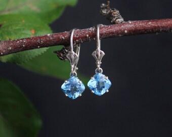 Swiss Blue Topaz Dangle Earrings, White Gold Earrings, Cushion Cut Blue Topaz, Leverback Earrings, Gemstone Earrings, Ready to Ship