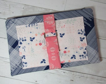 Large Clutch / Purse in Art Gallery Fabrics, Navy, White, Pink, Floral, Abstract, Zipper Pouch, Evening Bag