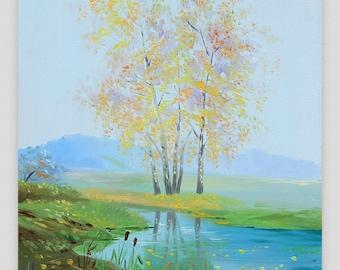 Oil painting Landscape Original painting Small landscape Canvas art Realism Autumn landscape Autumn wood Wall art Small painting Birch tree