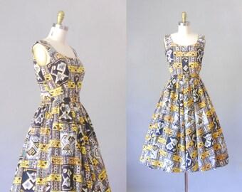 Island Paradise | robe vintage des années 1950 | robe d'été imprimé fantaisie