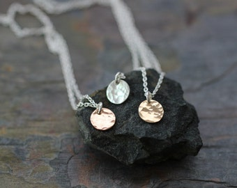 tiny necklace, dainty necklace, delicate necklace, mixed metals, gold necklace, silver necklace, rose gold, small disc, hammered medallion