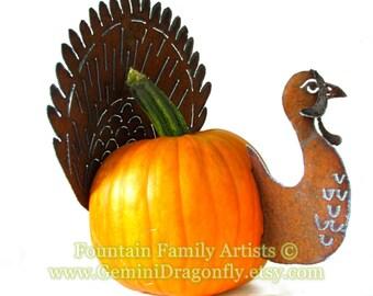 Rusty Turkey Pumpkin Kit DIY Garden Art Fall Home Decor Handmade from Recycled Metal