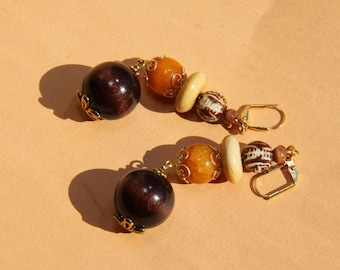 "3"" 1/4 L  Porcelain, Jade, wood dangle earrings"