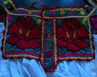 Fiesta Juquila Oaxaca Cross Stich Traditional Folk Blouse Boho Blouse,Mexican Blouse,Huipil,Boho Chic Fashion,Bohemian,Festival Clothing S/M