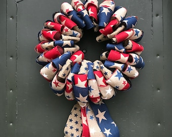 Patriotic, Red, White, and Blue, Fourth of July, ribbon wreath/hanger. Ready to Ship