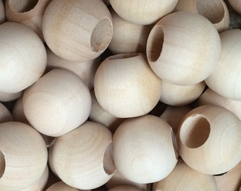 """25 Wooden Beads - 20MM (3/4"""") Round Wood Beads, 3/8"""" hole - Craft Party Supplies"""