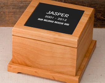 Wooden Pet Memorial Box - Personalized Dog Memorial - Our Rescue Dog Memorial Urn - Rescue Dog Gifts