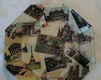 Decoupaged Octagonal Glass Bowl featuring vintage images of Paris