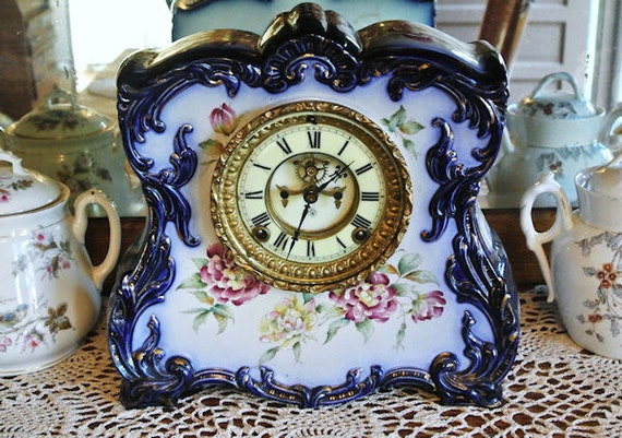 1800s Antique Porcelain Clock Ansonia Cobalt Blue Open Escapement Chiming 8 Day Strike Chime Mantel Parlor Victorian Era Floral Royal Bonn
