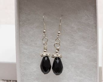Black drop earring