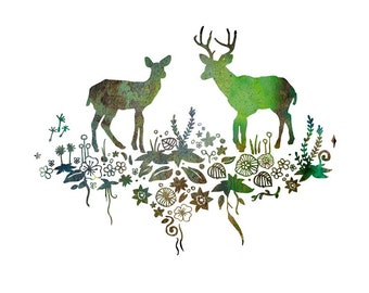 "Art Print ""Forest Deer & Stag"" - Woodland Animals, Animal Artwork, Deer Art, Forest Painting, Animal Illustration, Animal Drawing, Wall Art"