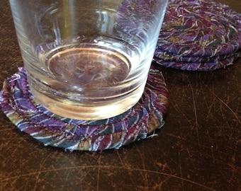 Purple Fabric Coasters, Set of 4