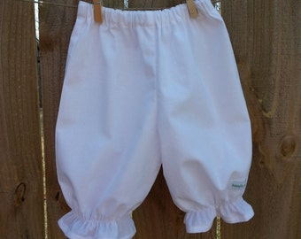 Girls Bloomers, Classic White Bloomers For Girls, Girls Pantaloons, Sizes 12mos - 4t.