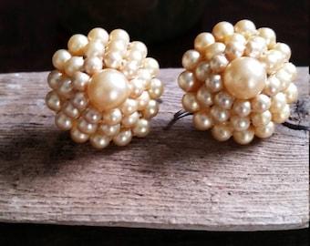 Early 30's Pearl Bead Screwback Earrings