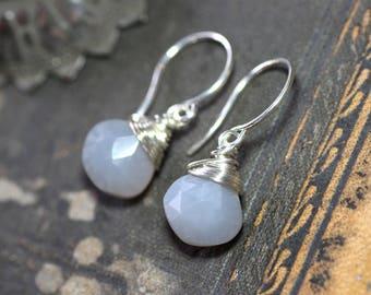 Gray Moonstone Earrings Rustic Silver Wire Wrapped Smoke Grey Gemstone Earrings