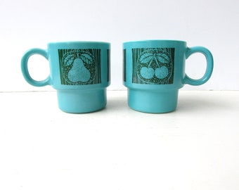 Set of 2 Vintage Stacking Mugs- Turquoise Glass Mugs with Fruit Pattern - Cherries - Apples - Pears - Aqua Mugs - Aqua and Green -
