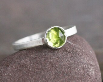 Peridot Silver Ring US Size 7 | Rose Cut Peridot Ring | IN STOCK Sterling Silver Peridot Ring