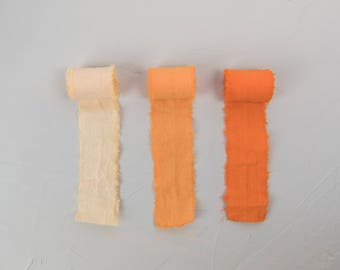 Orange Linen Hand Dyed Ribbons - Bouquet Ribbons - Styling Ribbons - Packaging Ribbons