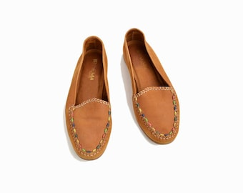 Vintage Beaded Suede Loafers in Ochre / Leather Moccasin Loafers - women's 8