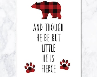 INSTANT DOWNLOAD Bear Plaid Quote Print