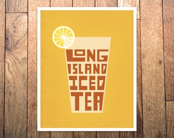 Graphic Art Print - 'Long Island Iced Tea' - 8x10 - Hand-Drawn - Cocktail Drink Art Typography Poster - Apartment House Decor