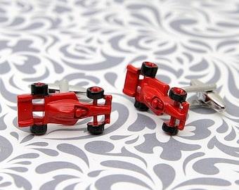 ON SALE Red Car F1 Racecar Cufflinks Racing Sports Gift