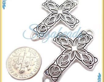 4 Filigree Antiqued Silver Sideways Cross Connectors 42mm