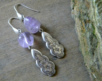 Amethyst earrings february birthstone southwestern jewelry southwest earrings light purple cowgirl jewelry bohemian earrings boho
