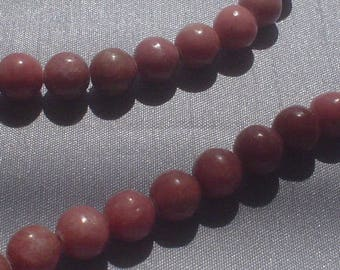 natural gemstone rosy pink rhodonite smooth round bead 6 mm / 15 inch