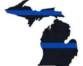 """BUY 2 GET 1 FREE - Michigan Thin Blue Line Machine Embroidery Design in 4 Sizes, 2"""", 3"""", 4"""", 5"""""""