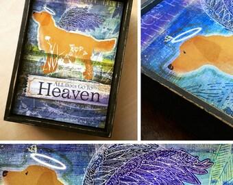 All dogs go to heaven golden retriever hand painted keepsake frame canvas artwork illustration dog art by stephen fowler