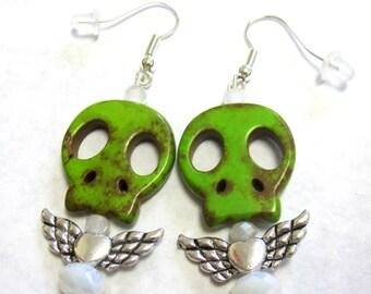 Day Of The Dead Earrings Sugar Skull Green Wings