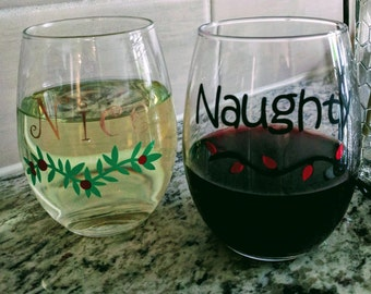 Naughty and Nice Christmas glasses, sold as a pair in a variety of styles.