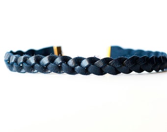 Braided Leather Choker / Necklace / Navy Blue
