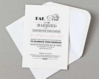 Eat Drink and Be Married Wedding Invite, RSVP, Information card Personalised